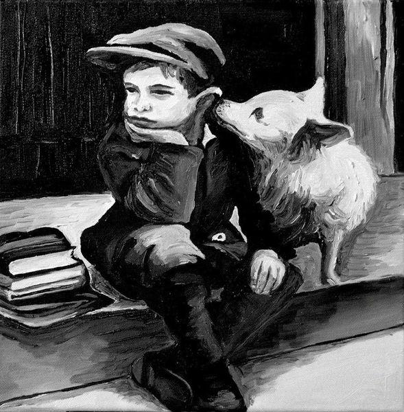 Ambiente, Kind, Hund, Schwarzweiß, Malerei, Schule