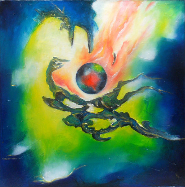 Ölmalerei, Dunkel, Feuer, Nebel, Kugel, Dynamik