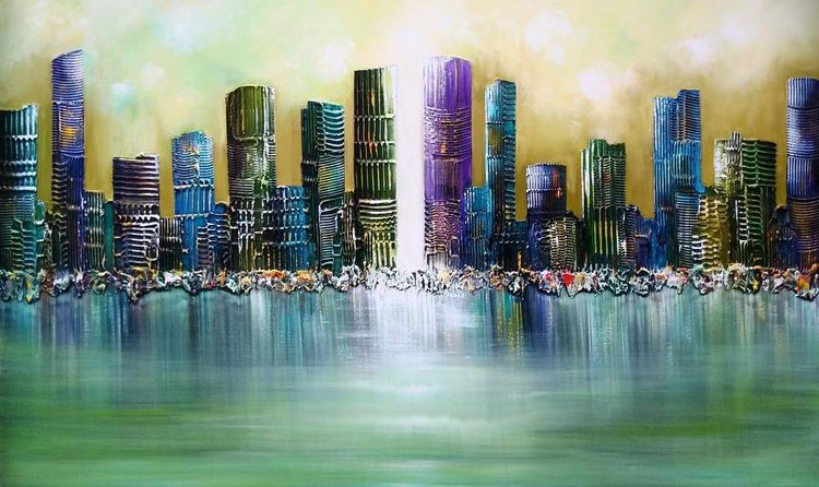 Malerei, Modern, Stadt, 3d, Skyline