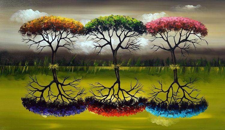 Grün, Acrylmalerei, Natur, Malerei, Jahreszeiten, Fantasie