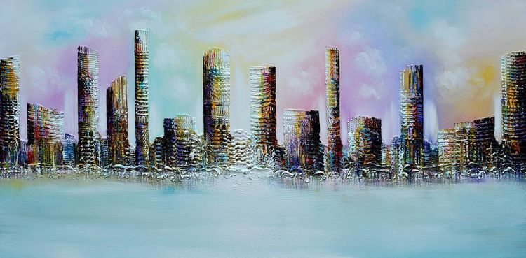 Skyline city, Modern painting original, Bunt, 3d, Malerei, Architektur