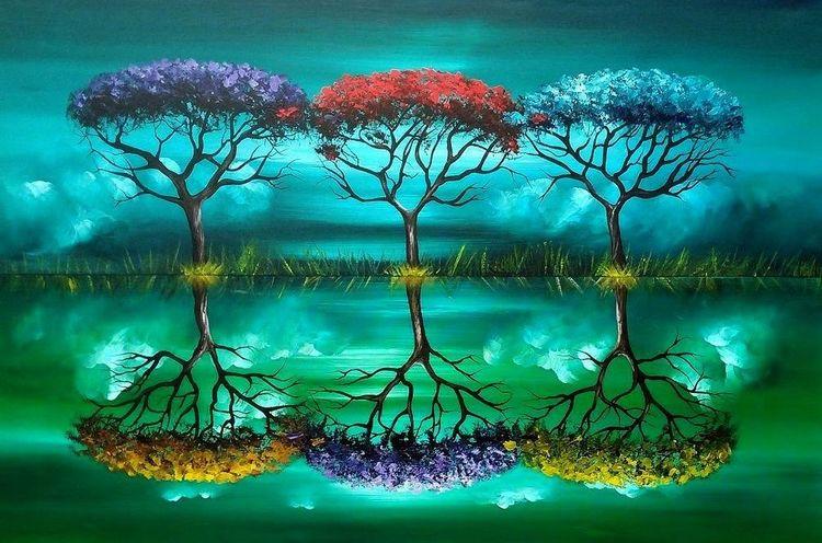 Jahreszeiten, Modern, Baum, Fantasie, Malerei,