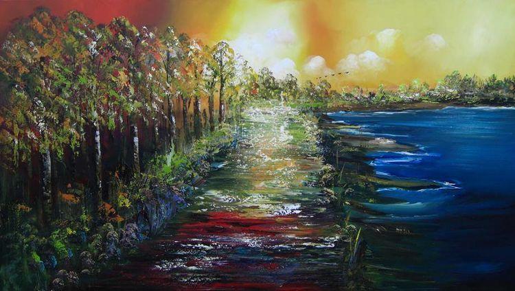 Fantasie, Natur, Moder, Malerei, Abstrakt,