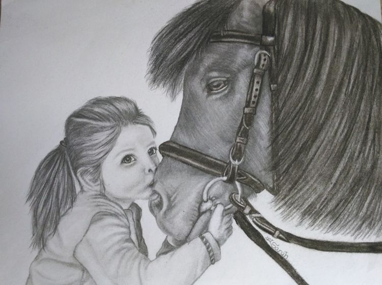Zeichnung, Bleistiftzeichnung, Zeichnungen, Mädchen, Pony,