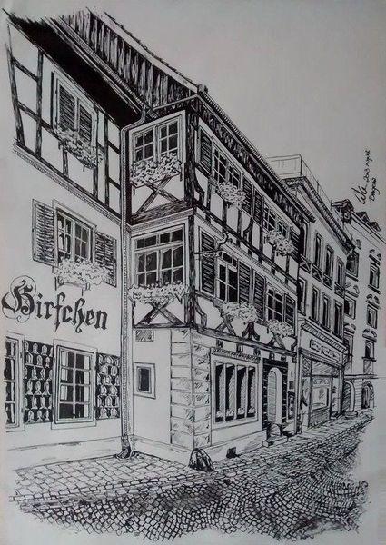 Altstadt, Schwarzweiß, Zeichnungen, Landschaft