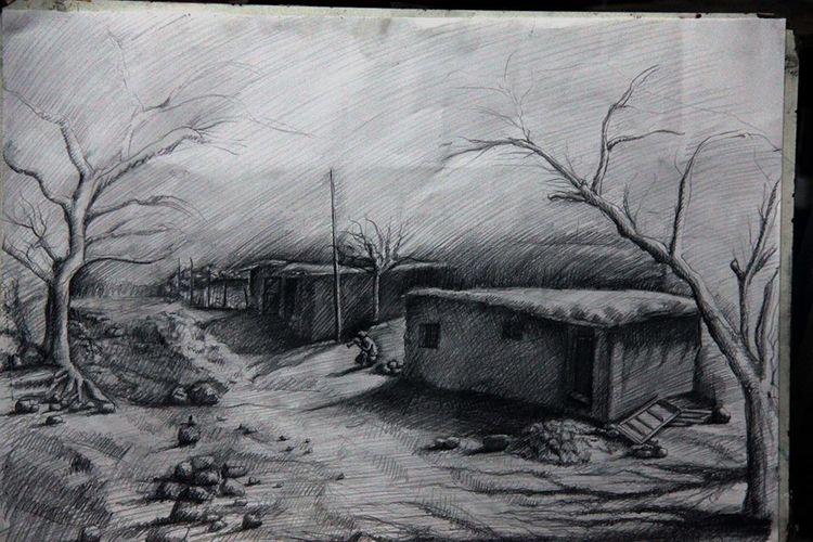 Bleistiftzeichnung, Dorf, Kurdisch, Geschichte, Haus, Zeichnungen