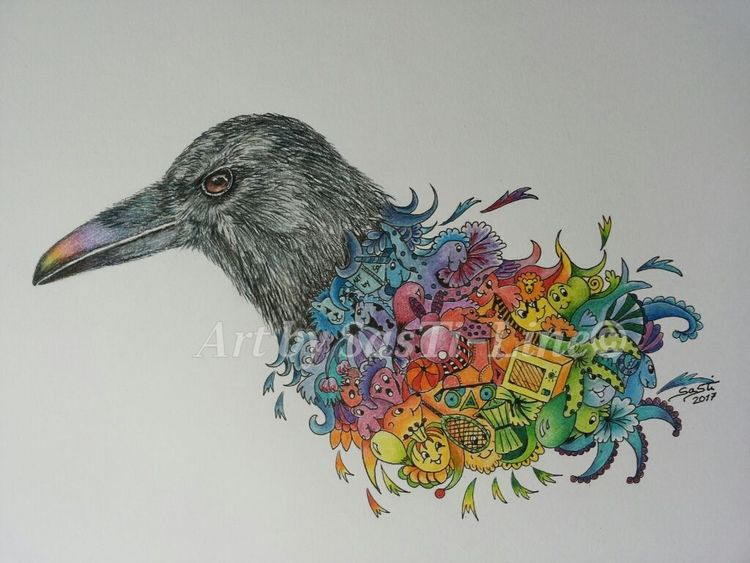 Bunt, Surreal, Tauchen, The crow, Mixed media, Polychromos