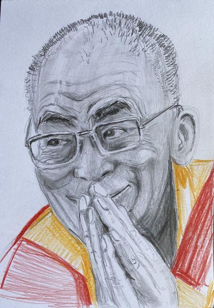 Portrait, Dalai lama, Gesicht, Bleistiftzeichnung, Zeichnung, Zeichnungen