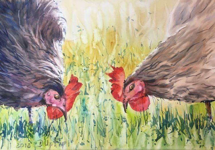 Aquarellmalerei, Huhn, Landleben, Aquarell