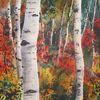 Aquarellmalerei, Landschaft, Birken, Aquarell