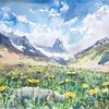Alpen, Wiese, Sommer, Aquarellmalerei