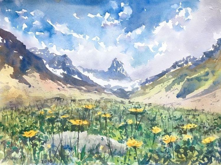 Alpen, Wiese, Sommer, Aquarellmalerei, Aquarell, Bergen