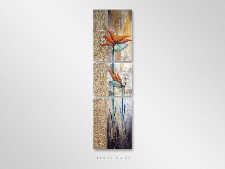 Gold, Abstrakt, Acrylmalerei, Blumen, Malerei, Glanz