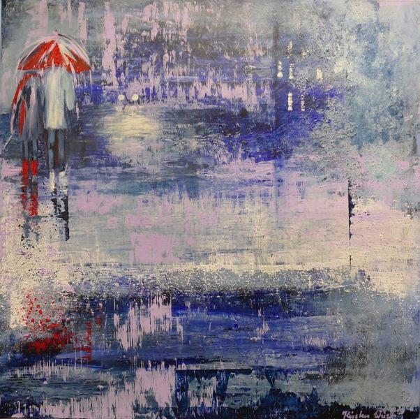 Straße, Stadt, Acrylmalerei, Menschen, Regen, Mischtechnik
