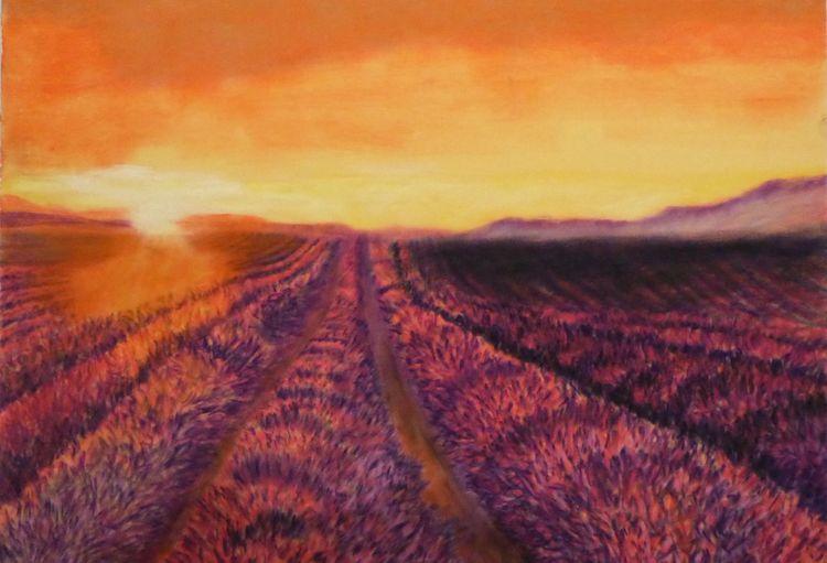 Abend, Sommer, Landschaft, Pastellmalerei, Lavendel, Zeichnungen