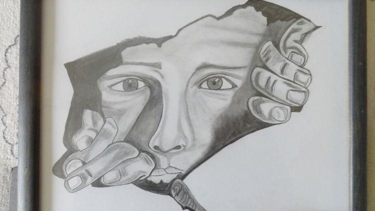 Figural, Schwarz, Portrait, Malerei, Zeichnung,