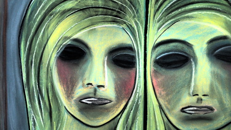 Portrait, Zeichnung, Grün, P1011348, Abstrakt, Blau