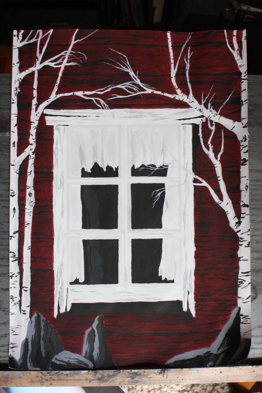 Fenster surreal rot schwarz acrylmalerei abstrakt von - Fenster abdichten acryl ...