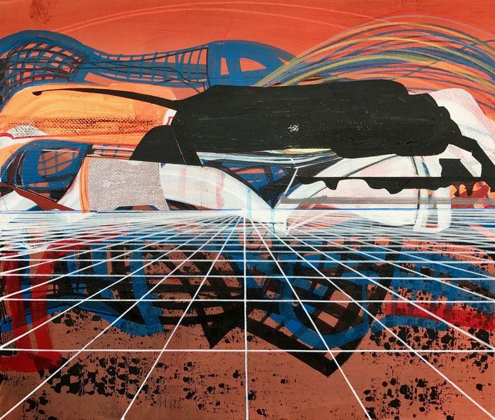 Landskape, Modern, Abstrakt maleri, Geometrie, Technik, Zeitgenössisch