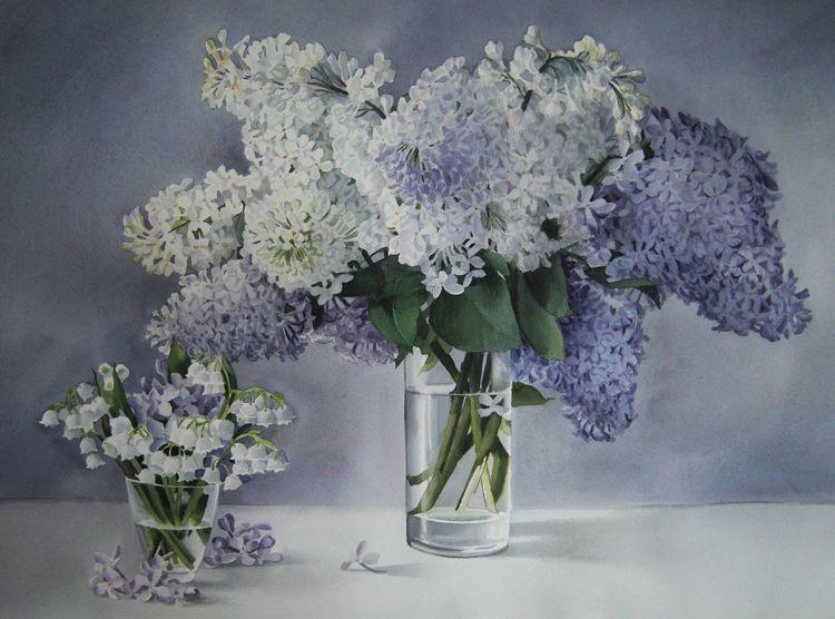Stillleben, Blumen, Frühling, Aquarell