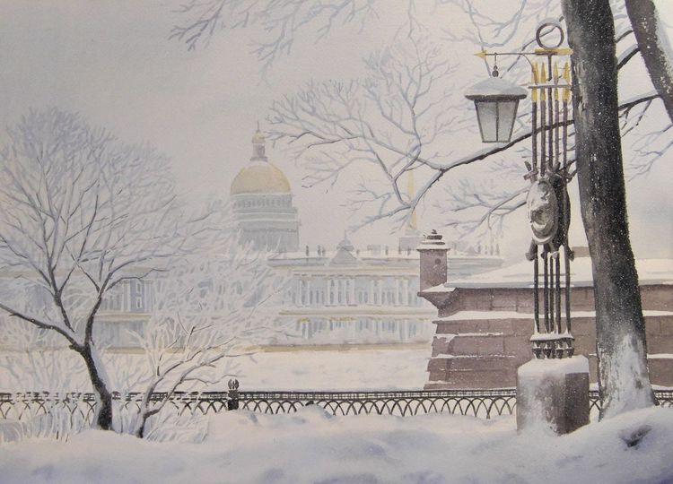 Landschaft, Winter, Schnee, Stadt, Aquarell, Frost