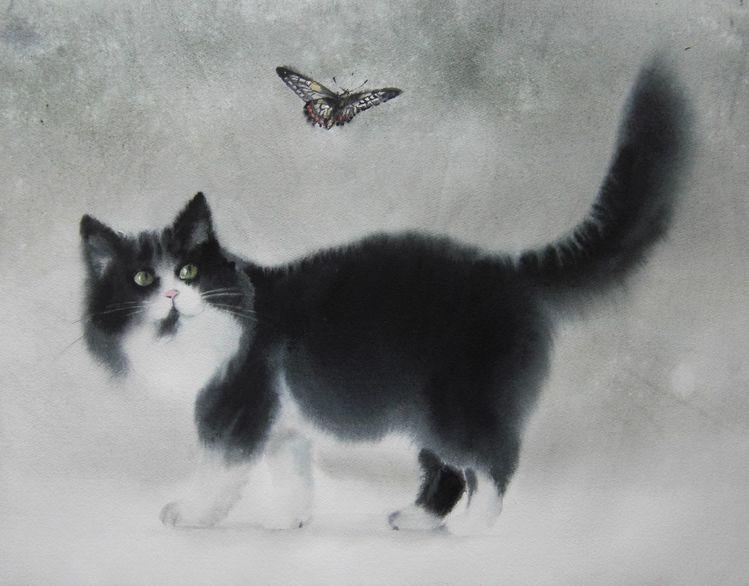 Tiere, Schmetterling, Katze, Aquarell
