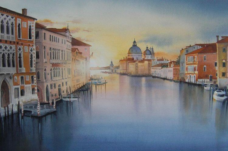 Stadt, Landschaft, Wasser, Venedig, Aquarell
