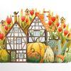 Kürbisse, Garten, Herbst, Aquarell