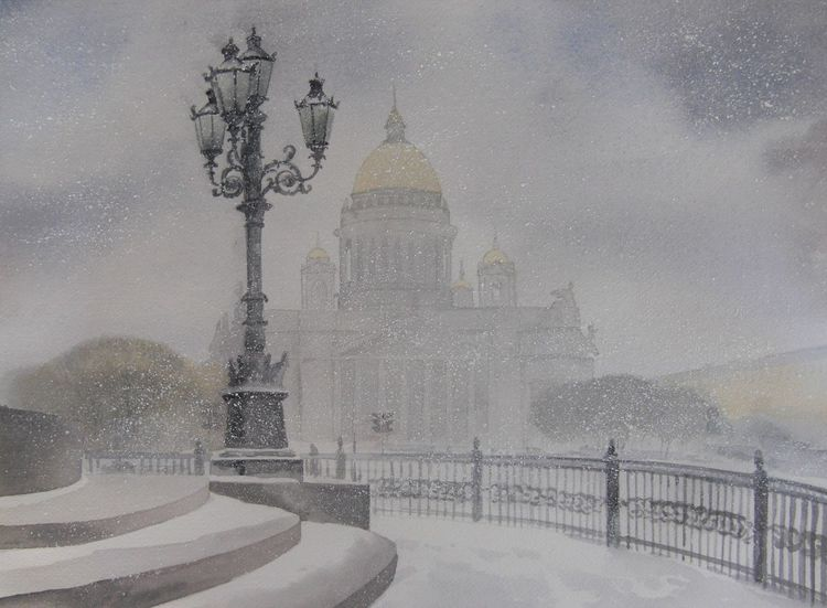 Isaakskathedrale, Stadt, Winter, Schnee, Aquarell