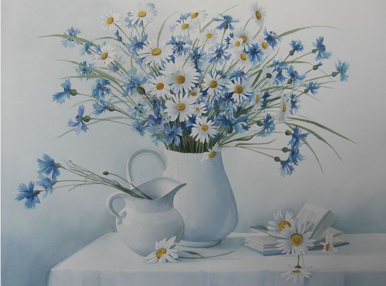 Stillleben, Kamille, Blumen, Aquarell