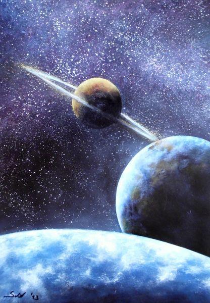 Acrylmalerei, Universum, Planet, Weltall, Astronomie, Malerei