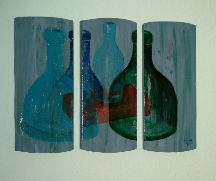 Triptychon, Acrylmalerei, Flasche, Malerei