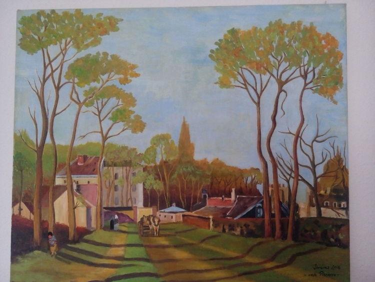 Baum, Haus, Schatten, Menschen, Malerei, Dorf