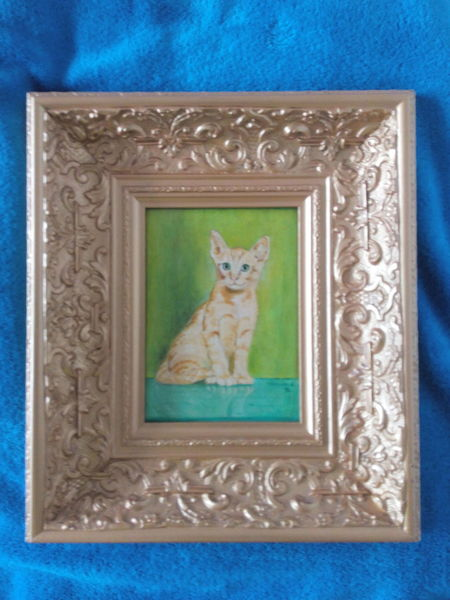 Rot, Gold, Katze, Grün, Malerei, Orientalisch