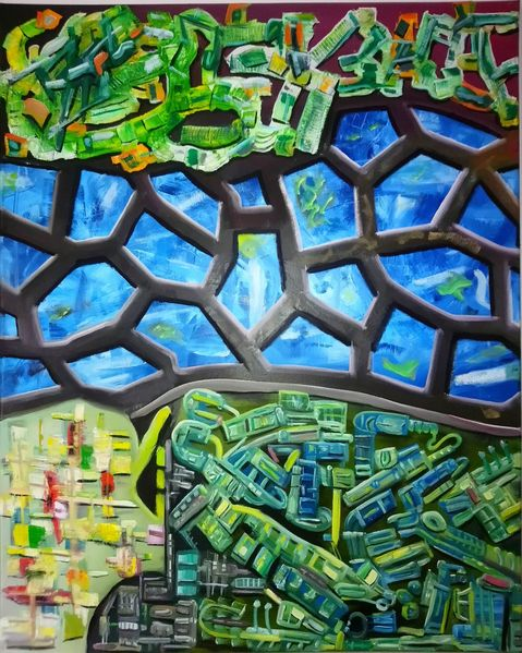 Komplexität, Kontrast, Ölmalerei, Pinselstriche, Gestisch, Malerei