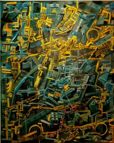 Fantasie, Ausdruck, Blau, Ölmalerei, Gelb, Komplexität