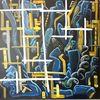 Komplexität, Ölmalerei, Dunkel, Gelb
