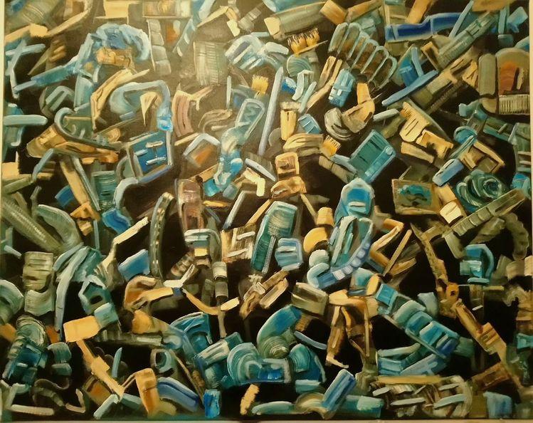 Braun, Fantasie, Gestisch, Blau, Pinselstriche, Ausdruck