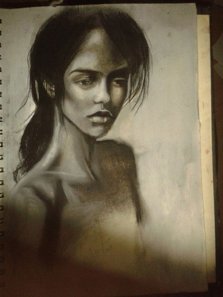 Kreide, Zeichnung, Kohlezeichnung, Frau, Zeichnungen
