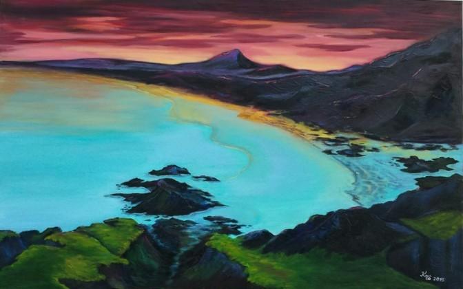Türkis, Sonnenuntergang, Meer, Malerei, Ölmalerei, Abendstimmung