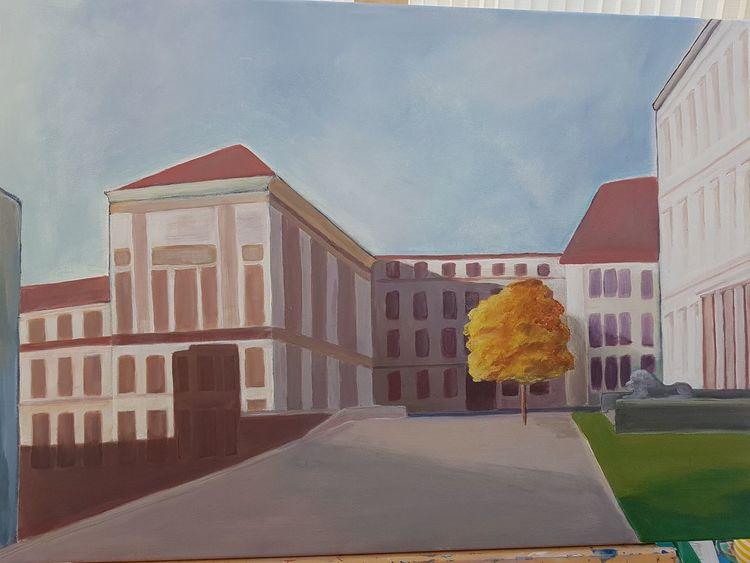 Pastellmalerei, Acrylmalerei, Haus, Malerei, Halle