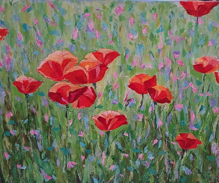 Blumen, Natur, Bunt, Acrylmalerei, Garten, Malerei