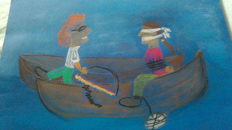 Selben, Boot, Pastellmalerei, Zeichnungen