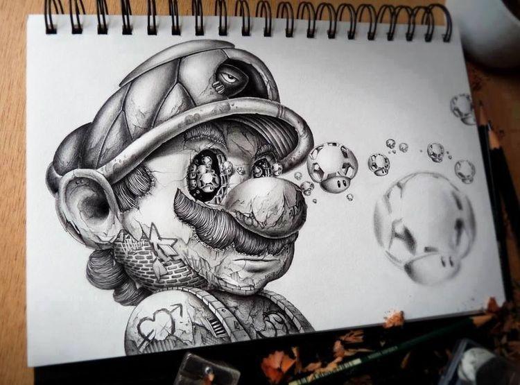 Abstrakt, Bleistiftzeichnung, Zeichnungen,