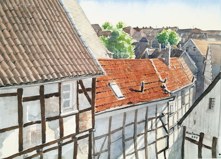 Altstadt, Aquarellmalerei, Dach, Fachwerk, Himmel, Hattingen