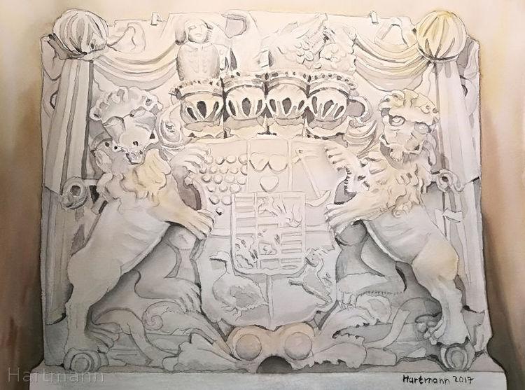 Aquarellmalerei, Wappen, Bentheim, Aquarell