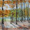 Licht und schatten, Herbst, Wald, Aquarellmalerei