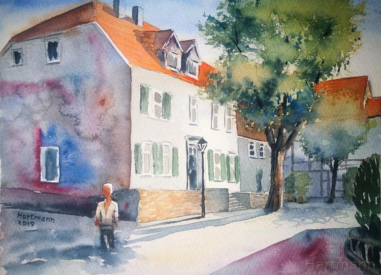 Schatten, Hattingen, Stadtszene, Licht, Aquarell