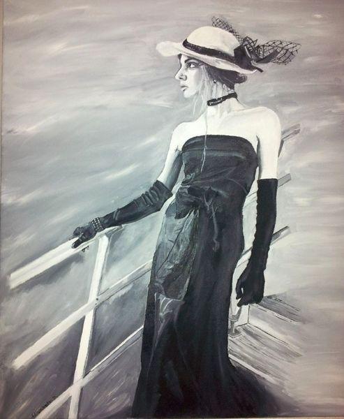 Meer, Kleid, Titanic, Eisberg, Ölmalerei, Handschuhe