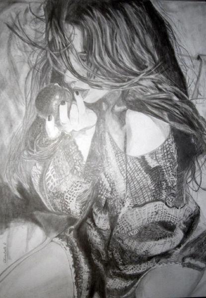 Realismus, Apfel, Abend, Schwarz, Bleistiftzeichnung, Zeichnung